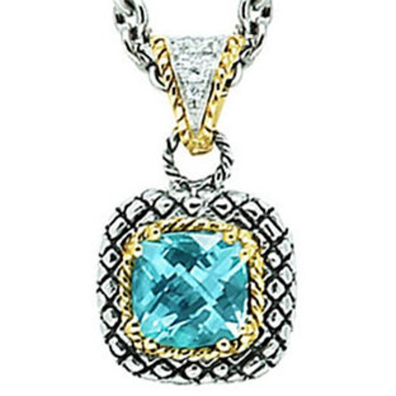 Andrea Candela 18kt and Sterling Silver Cushion Blue Topaz and Diamond Button Pendant with Chain