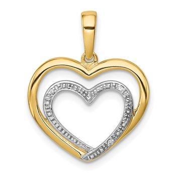 14k .01ct. Diamond and Rhodium Double Heart Pendant