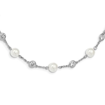 Cheryl M Sterling Silver CZ Simulated Pearl Necklace