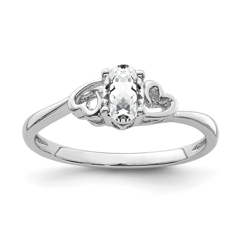 JC Sipe Essentials Sterling Silver Rhodium-plated White Topaz Ring