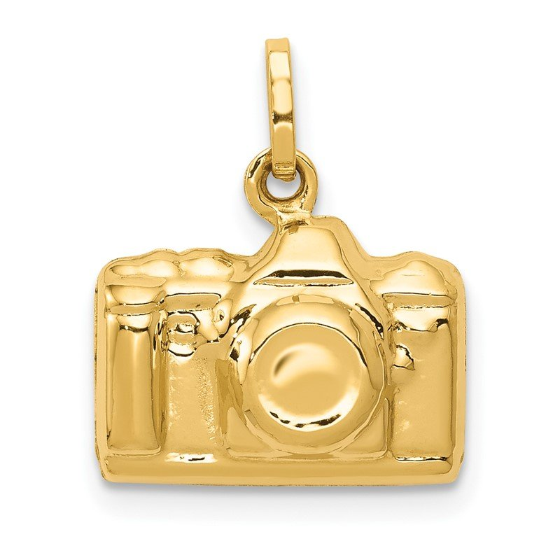 Quality Gold 14k 3-D Polished Camera Charm