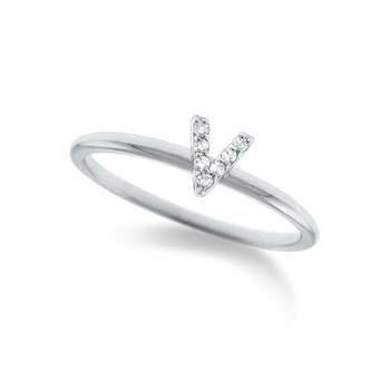 "Diamond Typewriter Initial ""V"" Ring"