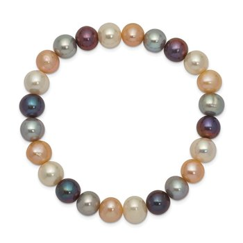 8-9mm FW Cultured White/Platinum/Peach/Black Pearl Stretch Bracelet