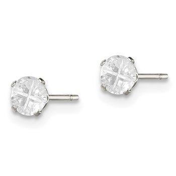 Sterling Silver 4mm Round Snap Set Cross-cut CZ Stud Earrings