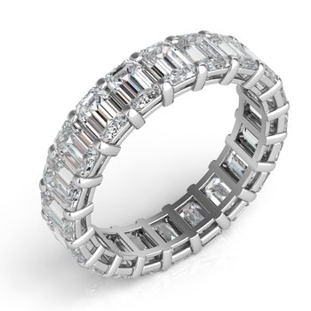 18K White Gold Emerald Cut Eternity Band
