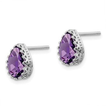 Sterling Silver Rhodium-plated 10mm Polished Pear Amethyst Post Earrings