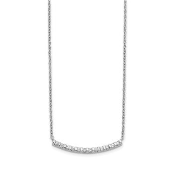 14k White Gold Diamond Curved Bar 18 inch Necklace