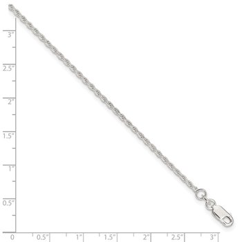 Sterling Silver Adjustable Diamond-Cut Rope 9in Plus 1in ext. Anklet