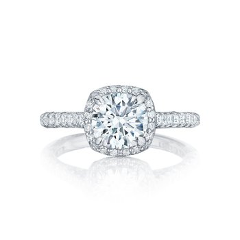 Petite Crescent Collection Round Cut Engagement Ring