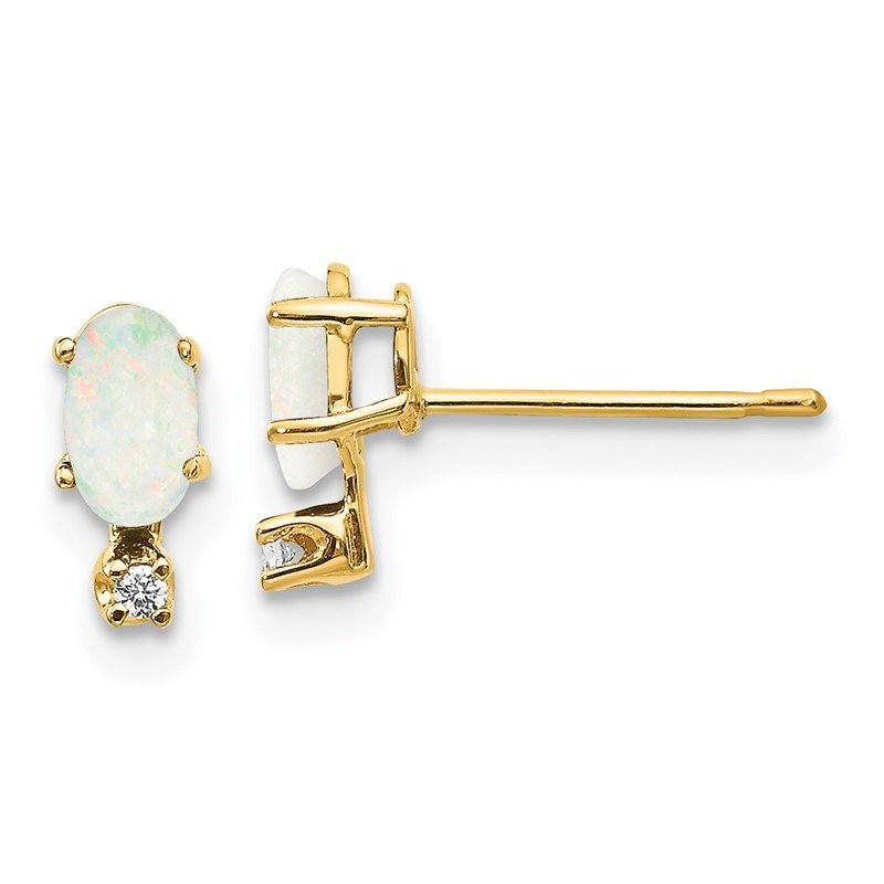 Quality Gold 14k Diamond & Opal Birthstone Earrings
