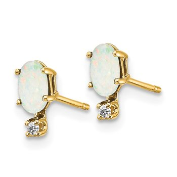 14k Diamond & Opal Birthstone Earrings