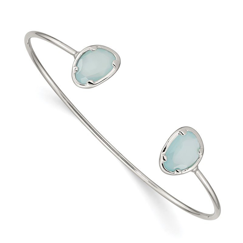 Quality Gold Sterling Silver Blue Chalcedony Bangle