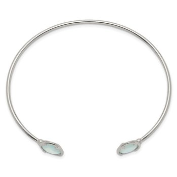 Sterling Silver Blue Chalcedony Bangle