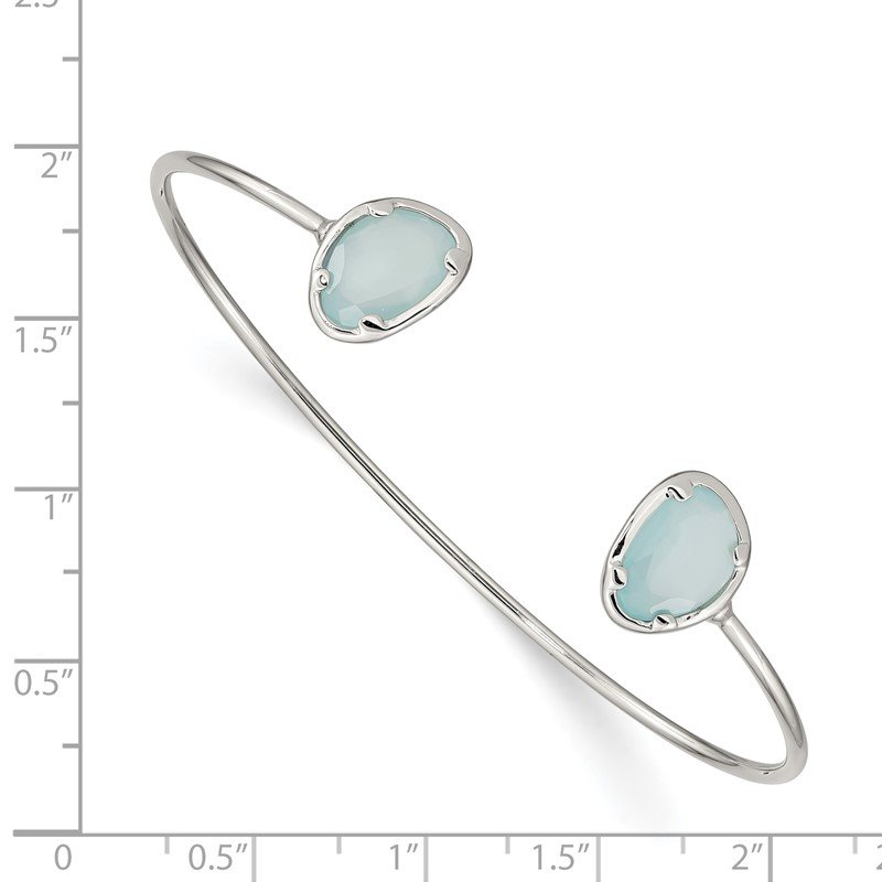 925 Yellow Gold Sterling Silver with Oval Chalcedony Stone Bangle Bracelet 8