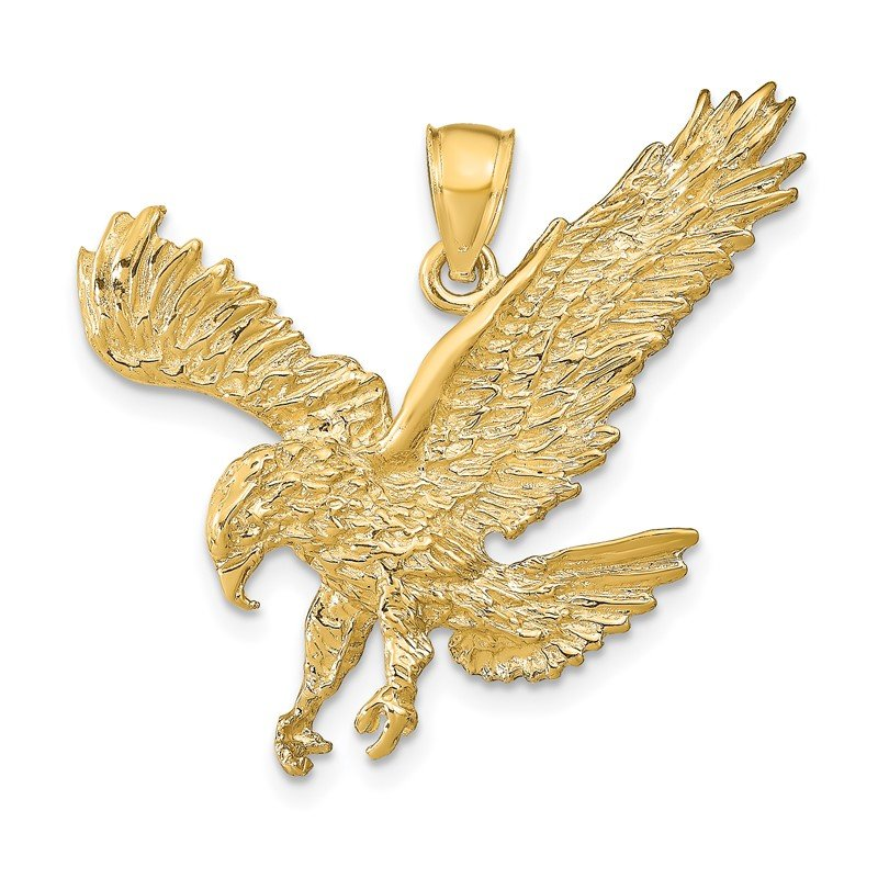 Quality Gold 14k Textured Eagle Landing Pendant