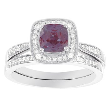 14k White Gold Cushion Cut Created Alexandrite 1/4ct Diamond Bridal Set