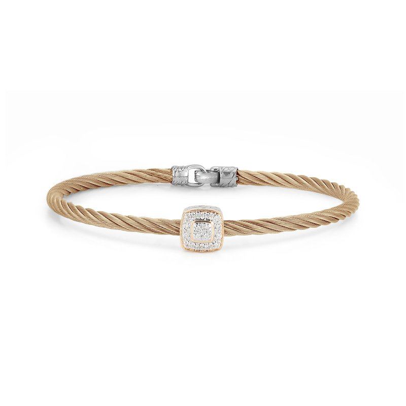 ALOR Carnation Cable Essential Stackable Bracelet with Single Large Square Diamond station set in 18kt White Gold