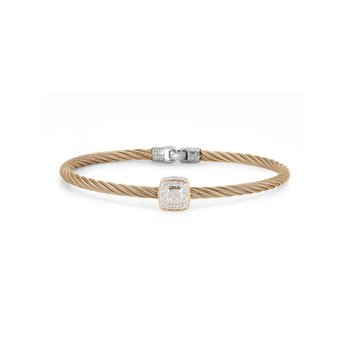 Carnation Cable Essential Stackable Bracelet with Single Large Square Diamond station set in 18kt White Gold