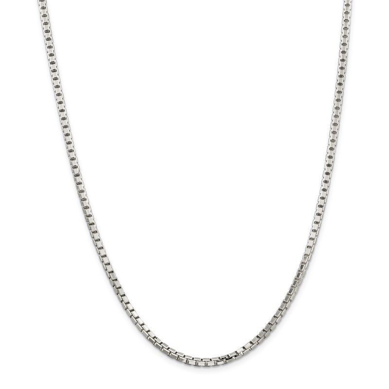 Arizona Diamond Center Collection Sterling Silver 3.2mm 8 Sided Diamond-cut Box Chain