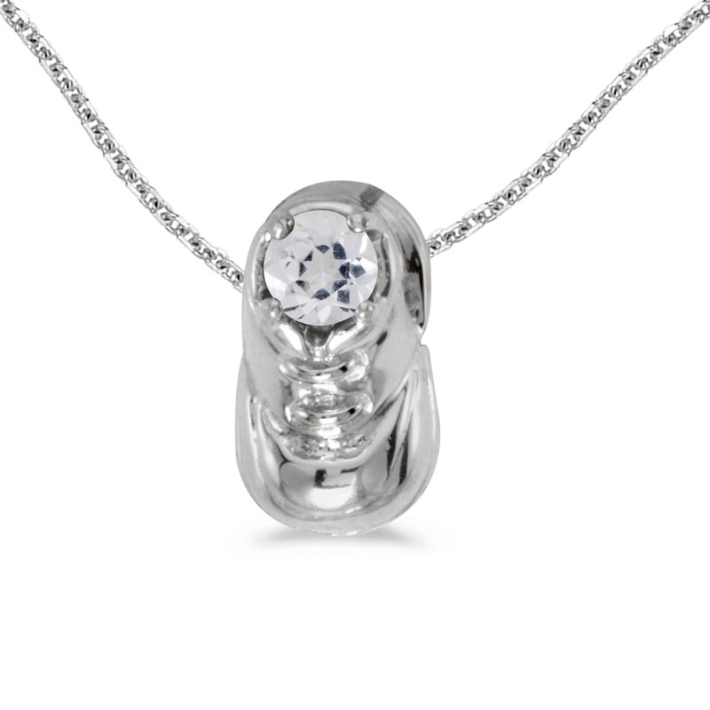 Color Merchants 14k White Gold Round White Topaz Baby Bootie Pendant