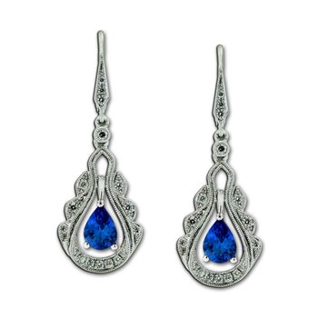 Vintage Inspired Tanzanite & Diamond Dangles