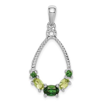 Sterling Silver Rhod-plat Chrome Diopside and Peridot Pendant