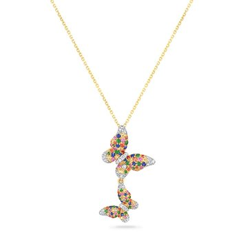 14K DOUBLE BUTTERFLY NECKLACE WITH  FANCY SAPPHIRE 0.45CT, DIAMONDS 0.20CT & GREEN GARNET 0.57CT 18 INCHES
