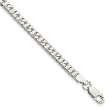Sterling Silver 4.25mm Fancy Flat Link Bracelet
