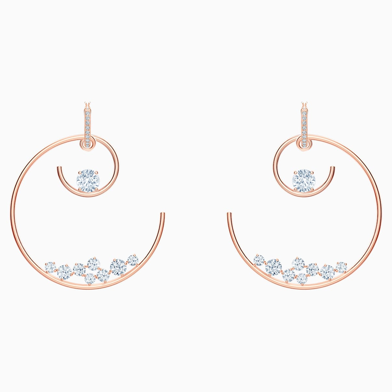 Swarovski North Hoop Pierced Earrings, White, Rose-gold tone plated