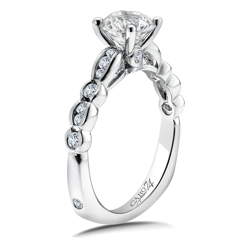 Caro74 Diamond Engagement Ring Mounting in 14K White Gold with Platinum Head (.27 ct. tw.)