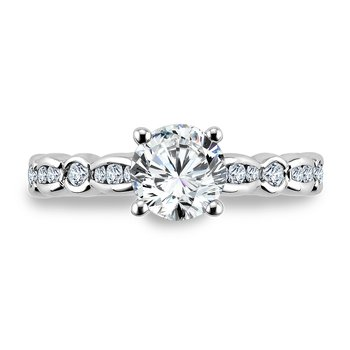 Diamond Engagement Ring Mounting in 14K White Gold with Platinum Head (.27 ct. tw.)