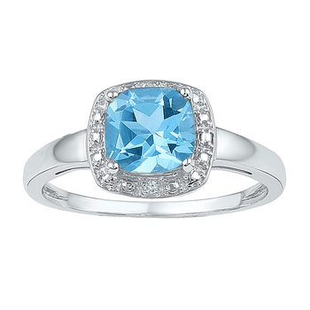 Sterling Silver Womens Princess Lab-Created Blue Topaz Solitaire Ring 1-7/8 Cttw