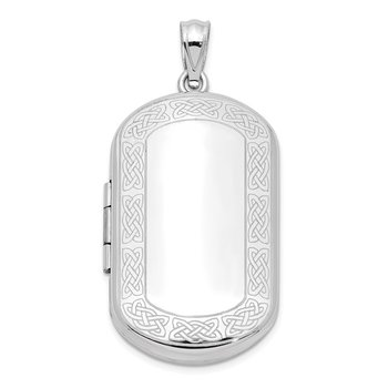 Sterling Silver Rhodium-plated Celtic Border Rectangular Locket