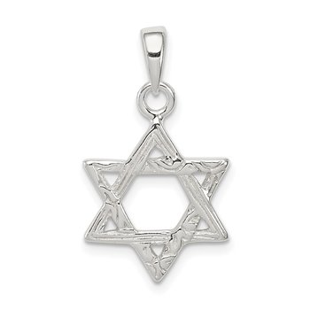 Sterling Silver Textured Star of David Pendant