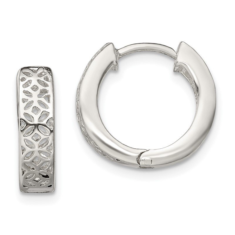 Quality Gold Sterling Silver Polished Cut-out Design Hinged Hoop Earrings