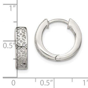 Sterling Silver Polished Cut-out Design Hinged Hoop Earrings