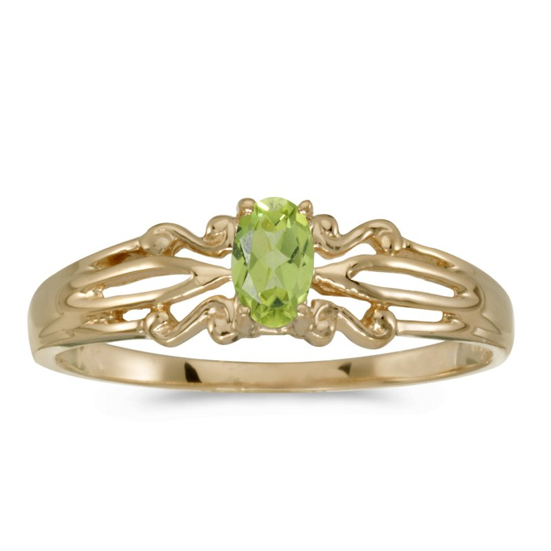 Color Merchants 14k Yellow Gold Oval Peridot Ring