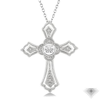 Emotion Diamond Cross Silver Pendant