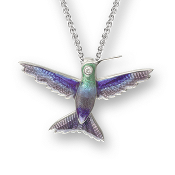Sterling Silver Hummingbird Necklace-Purple. Diamonds