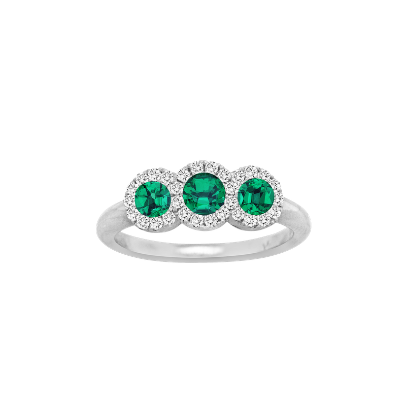 Spark Creations Three Stone Emerald & Diamond Ring