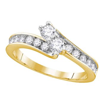 14kt Yellow Gold Womens Round Diamond 2-stone Hearts Together Bridal Wedding Engagement Ring 1-1/2 Cttw
