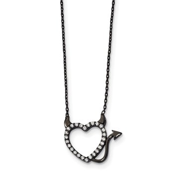 Sterling Silver Black Ruthenium Plated Devil Heart CZ 16 inch Necklace