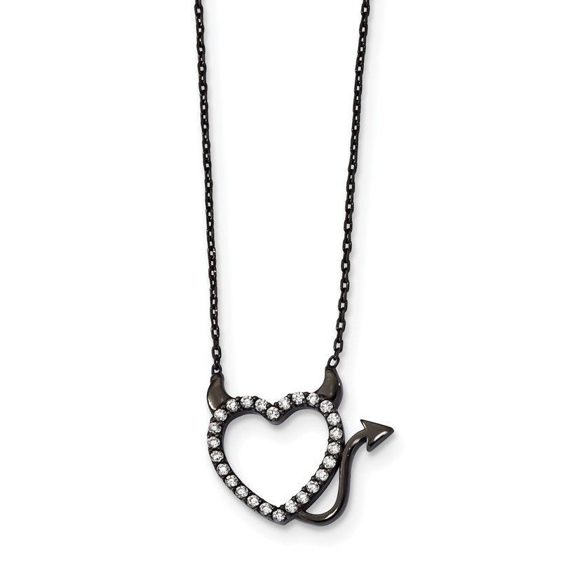 Quality Gold Sterling Silver Black Ruthenium Plated Devil Heart CZ Necklace