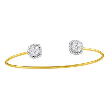 18kt Yellow Gold Womens Round Diamond Cluster Open Bangle Bracelet 1.00 Cttw