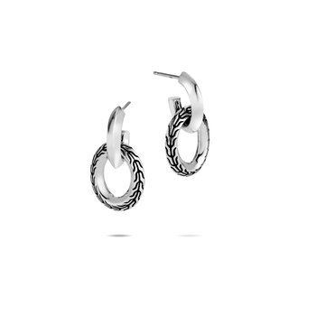 Classic Chain Knife Edge Door Knocker Earring in Silver