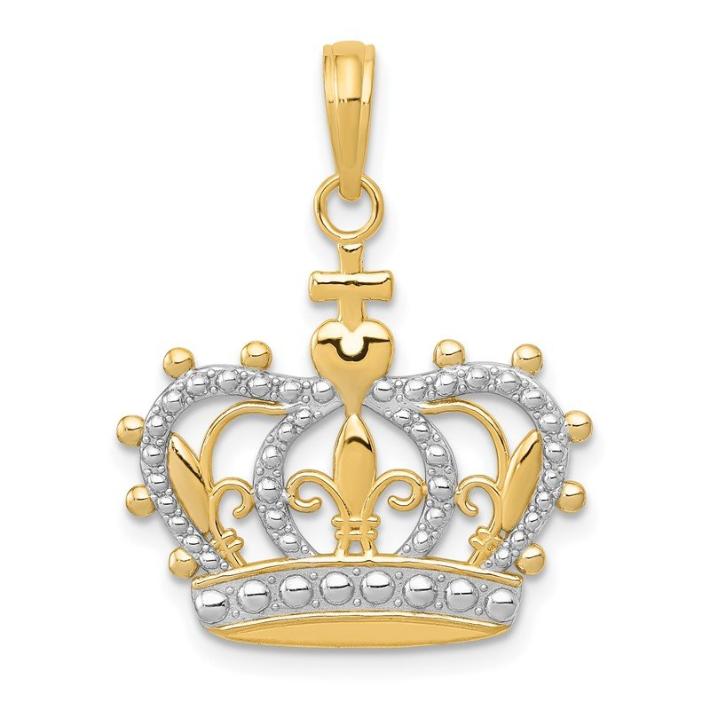 Quality Gold 14K Rhodium Crown Pendant