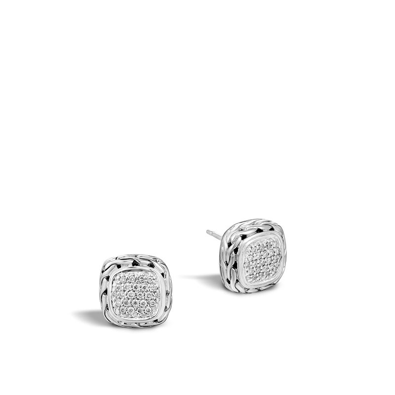 JOHN HARDY Classic Chain 12MM Stud Earring in Silver with Diamonds