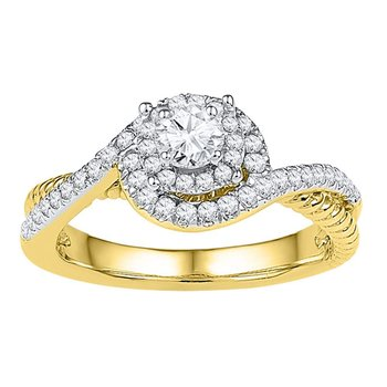 10kt Yellow Gold Womens Round Diamond Solitaire Bridal Wedding Engagement Ring 3/8 Cttw