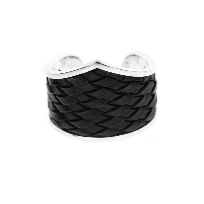 King Baby Woven Leather Mb Cross Cuff
