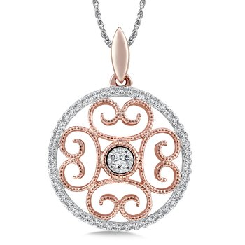 Diamond Pendant in 14K White/Rose Gold (.16 ct. tw.)